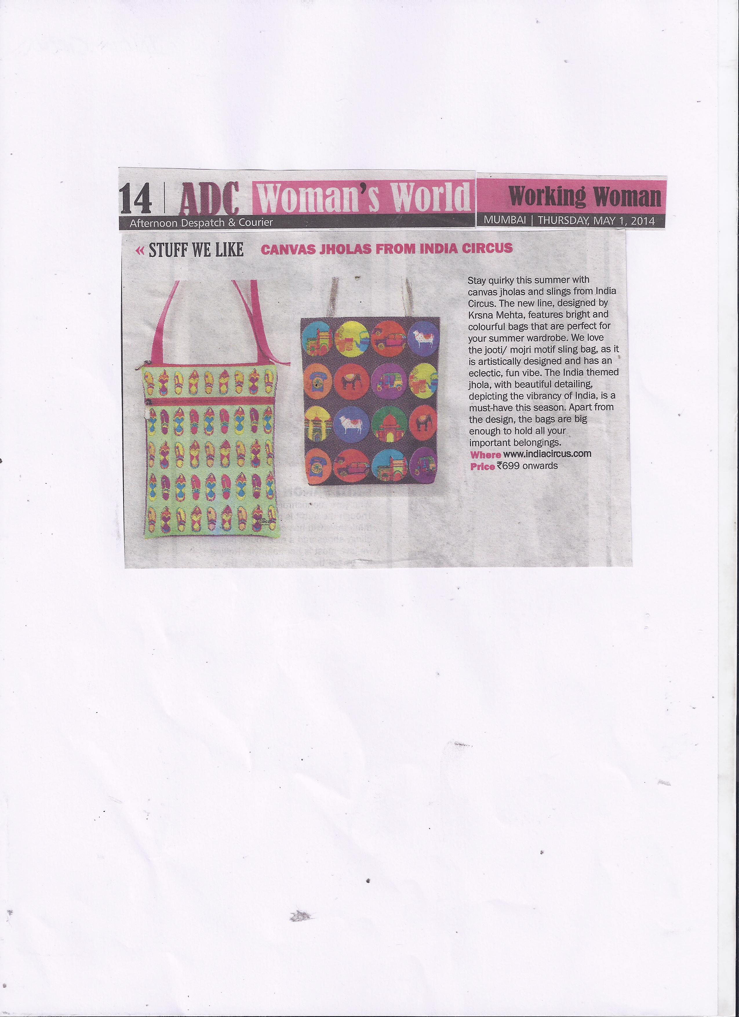 India Circus Canvas Jholas featured in Afternoon Dispatch and Courier