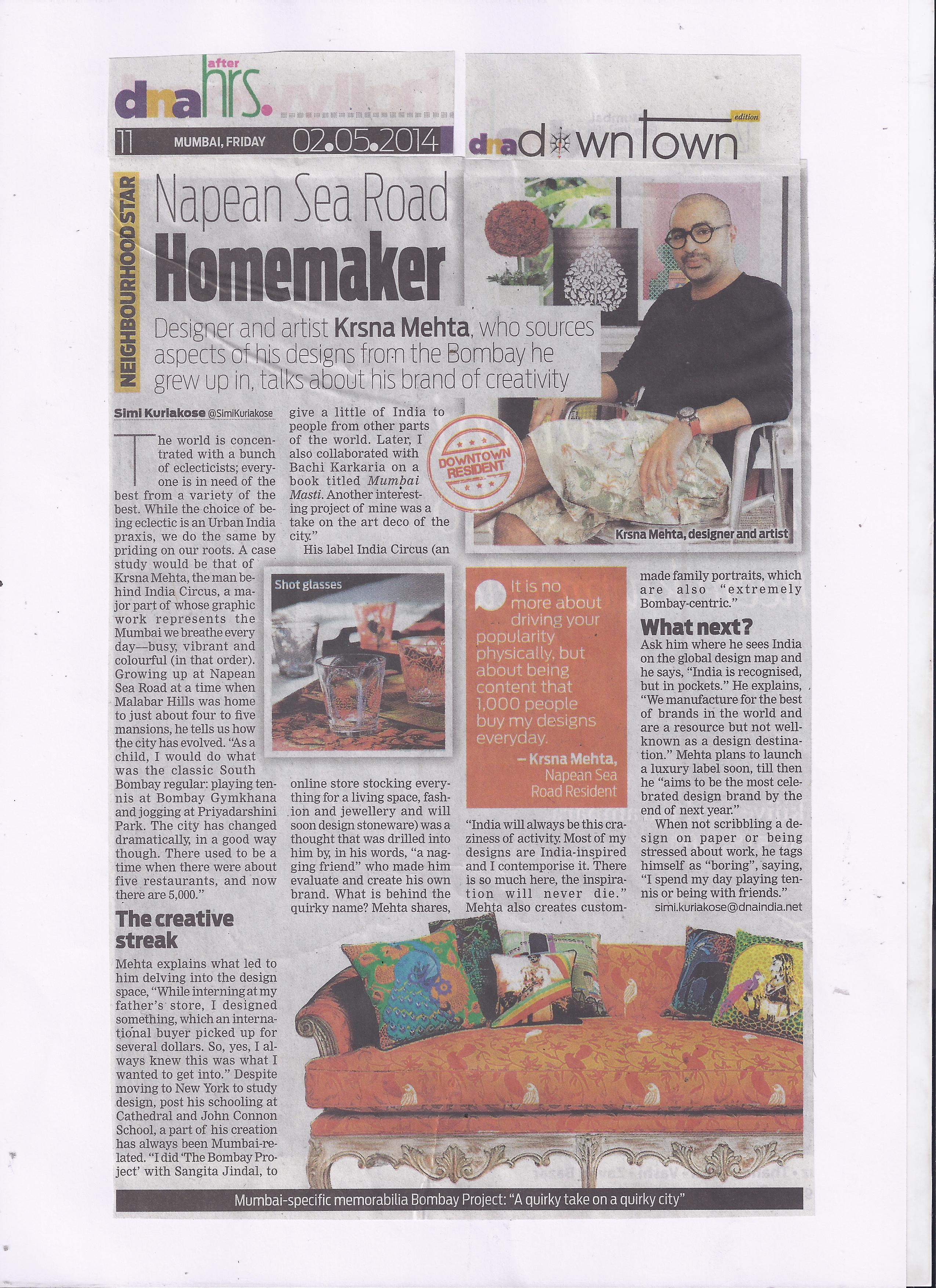 India Circus featured in DNA after hrs.