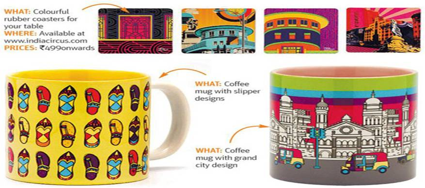 India Circus Designer Mugs and Coasters featured in Shop-Stop - Midday