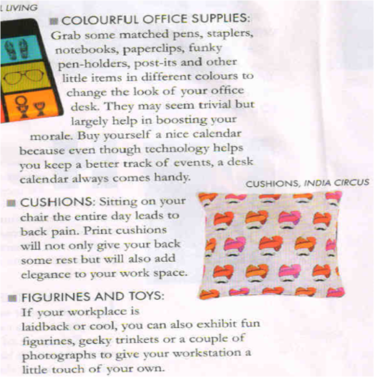 India Circus Hipster Singh Cushion Cover published in New Woman magazine