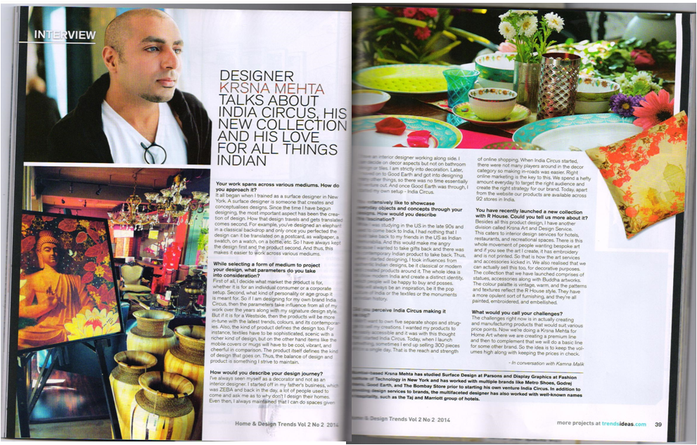 India Circus coverage in Home & Design Trends magazine by TOI