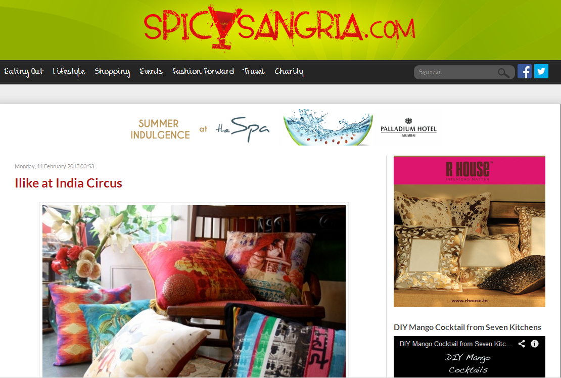 India Circus featured in the blog Spicy Sangria in February 2013