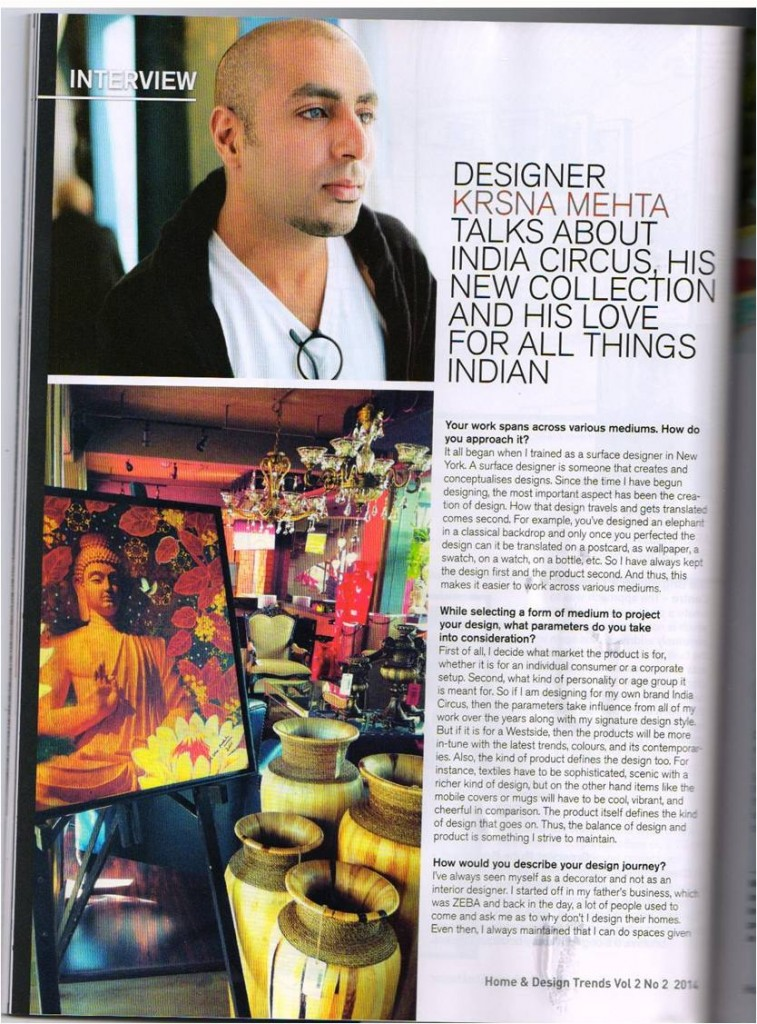 India Circus Published in Home and Design Trends Magazine